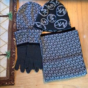 Michael Kors Scarf, Gloves and Beanie Set